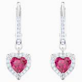 One Pierced Earrings, Red, Rhodium plated - Swarovski, 5456979