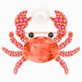 Ocean Crab Brooch, Multi-colored, Rose-gold tone plated - Swarovski, 5457571