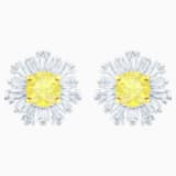 Sunshine Pierced Earrings, White, Rhodium plated - Swarovski, 5459591