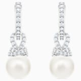 Originally Pierced Earrings, White, Rhodium plated - Swarovski, 5461080