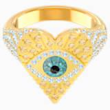 Lucky Goddess Heart 戒指图案, 彩色设计, 镀金色调 - Swarovski, 5461778