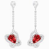 Outstanding 穿孔耳環, 紅色, 鍍白金色 - Swarovski, 5462581
