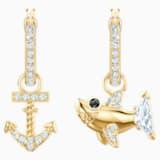 Ocean Shark Pierced Earrings, White, Gold-tone plated - Swarovski, 5463738