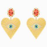 Lucky Goddess Heart Clip Earrings, Multi-colored, Gold-tone plated - Swarovski, 5464131