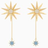 Lucky Goddess 穿孔耳环, 彩色设计, 镀金色调 - Swarovski, 5464169