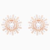 Sunshine Clip Earrings, White, Rose-gold tone plated - Swarovski, 5464833