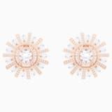 Sunshine 夹式耳环, 白色, 镀玫瑰金色调 - Swarovski, 5464833