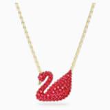 Iconic Swan Подвеска, Красный Кристалл, Покрытие оттенка золота - Swarovski, 5465400