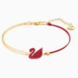 Iconic Swan 手鏈, 紅色, 鍍金色色調 - Swarovski, 5465403