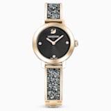 Cosmic Rock Часы, Металлический браслет, Серый Кристалл, PVD-покрытие золотого цвета оттенка шампанского - Swarovski, 5466205