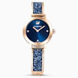 Hodinky Cosmic Rock, s kovovým páskem, modré, PVD v odstínu růžového zlata - Swarovski, 5466209