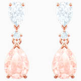 Vintage Pierced Earrings, Pink, Rose-gold tone plated - Swarovski, 5466888