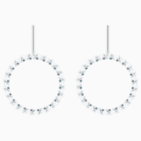 Naeli Pierced Earrings, White, Rhodium plated - Swarovski, 5467453