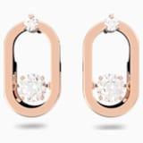 Sparkling Dance Pierced Earrings, White, Rose-gold tone plated - Swarovski, 5468118