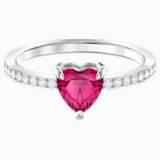 Anillo One Heart, rojo, Baño de Rodio - Swarovski, 5469980