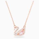 Dazzling Swan 項鏈, 多色設計, 鍍玫瑰金色調 - Swarovski, 5469989