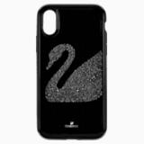 Etui na smartfona Swan Fabric z ramką chroniącą przed uderzeniem, iPhone® XR, czarne - Swarovski, 5474747