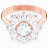 Anillo Sunshine, blanco, Baño en tono Oro Rosa - Swarovski, 5474921