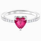 Pierścionek One w kształcie serca, czerwony, powlekany rodem - Swarovski, 5474941