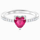 Prsten se srdcem One, červený, rhodiovaný - Swarovski, 5474941