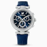 Era Journey Watch, Leather strap, Blue, Stainless steel - Swarovski, 5479239