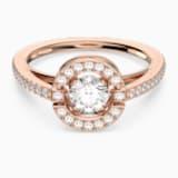 Δαχτυλίδι Swarovski Sparkling Dance Round, λευκό, επιχρυσωμένο σε χρυσή ροζ απόχρωση - Swarovski, 5479934