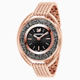 Crystalline Oval Watch, Metal bracelet, Black, Rose-gold tone PVD - Swarovski, 5480507