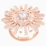Prsten s velkým kamenem Sunshine, Bílý, Pozlacený růžovým zlatem - Swarovski, 5482499