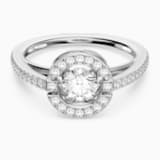 Prsten s kulatým kamenem Swarovski Sparkling Dance, Bílý, Rhodiem pokovený - Swarovski, 5482500