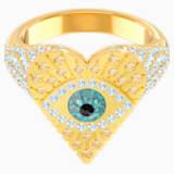 Lucky Goddess Heart Motif Ring, Multi-coloured, Gold-tone plated - Swarovski, 5482532