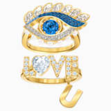 New Love 圖形戒指, 多色設計, 鍍金色色調 - Swarovski, 5482555