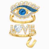 New Love Motif Ring, Multi-colored, Gold-tone plated - Swarovski, 5482555