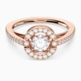 Prsten s kulatým kamenem Swarovski Sparkling Dance, Bílý, Pozlacený růžovým zlatem - Swarovski, 5482710
