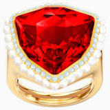 Bague cocktail Lucky Goddess, rouge, Métal doré - Swarovski, 5482929