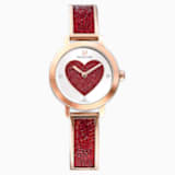 Cosmic Rock Watch, Metal bracelet, Red, Rose-gold tone PVD - Swarovski, 5483519