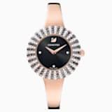 Crystal Rose Часы, Металлический браслет, Черный Кристалл, PVD-покрытие оттенка розового золота - Swarovski, 5484050