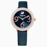 Crystal Frost Watch, Leather Strap, Blue, Rose-gold tone PVD - Swarovski, 5484061