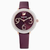 Crystal Frost Часы, Кожаный ремешок, Тёмно-красный Кристалл, PVD-покрытие оттенка розового золота - Swarovski, 5484064