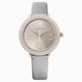 Crystal Frost Watch, Leather Strap, Gray, Rose-gold tone PVD - Swarovski, 5484067