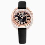 Montre Duo, Bracelet en cuir, noir, PVD doré rose - Swarovski, 5484373