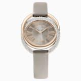 Duo Часы, Кожаный ремешок, Серый Кристалл, PVD-покрытие золотого цвета оттенка шампанского - Swarovski, 5484382