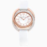 Duo Watch, Leather Strap, White, Rose-gold tone PVD - Swarovski, 5484385