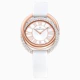 Duo Watch, Leather Strap, White, Rose-gold tone PVD - Swarovski, 5484385