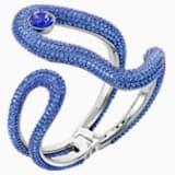 Tigris 闊手鐲, 藍色, 鍍鈀色 - Swarovski, 5484502
