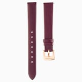 13 mm Horlogebandje, Leer, Donkerrood, Roségoudkleurige toplaag - Swarovski, 5485041