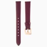 13mm Watch strap, Leather, Dark red, Rose-gold tone plated - Swarovski, 5485041
