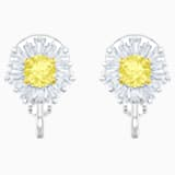 Sunshine Clip Earrings, White, Rhodium plated - Swarovski, 5485461