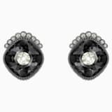 Black Baroque Stud Pierced Earrings, Dark gray, Ruthenium plated - Swarovski, 5485656
