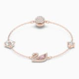 Dazzling Swan Bracelet, Multi-colored, Rose-gold tone plated - Swarovski, 5485876