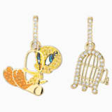 Looney Tunes Tweety Hoop Pierced Earrings, Multi-colored, Gold-tone plated - Swarovski, 5487637
